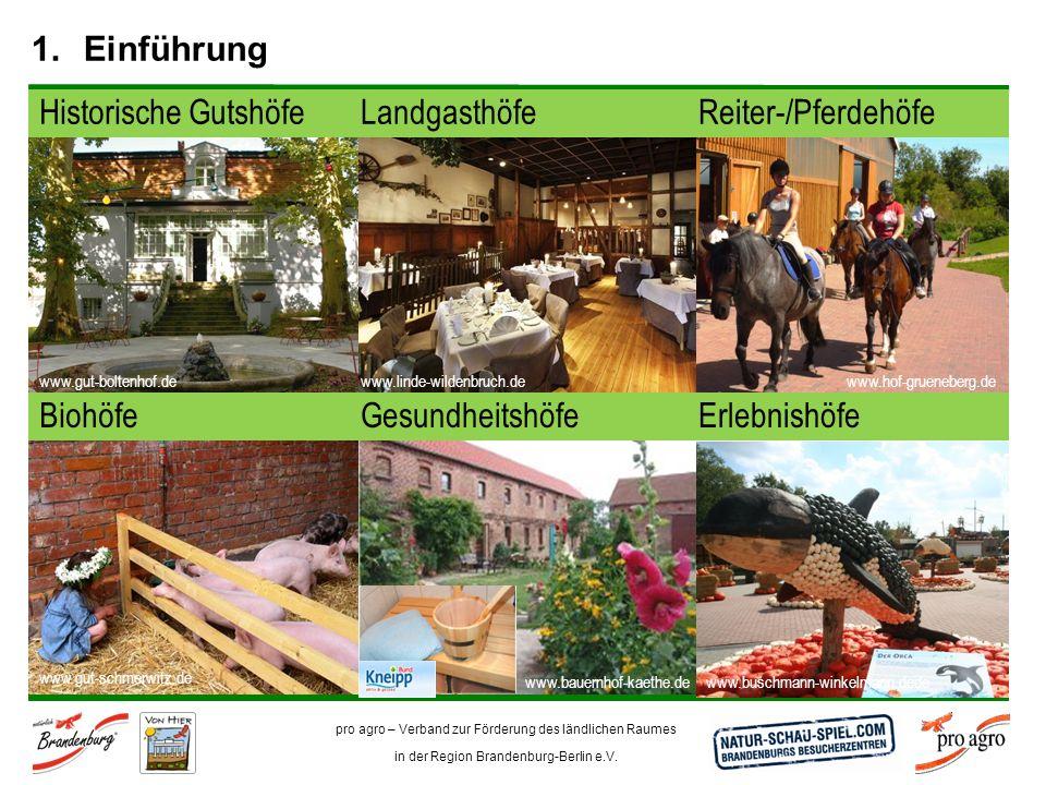 pro agro – Verband zur Förderung des ländlichen Raumes in der Region Brandenburg-Berlin e.V. 1.Einführung Reiter-/PferdehöfeHistorische GutshöfeLandga
