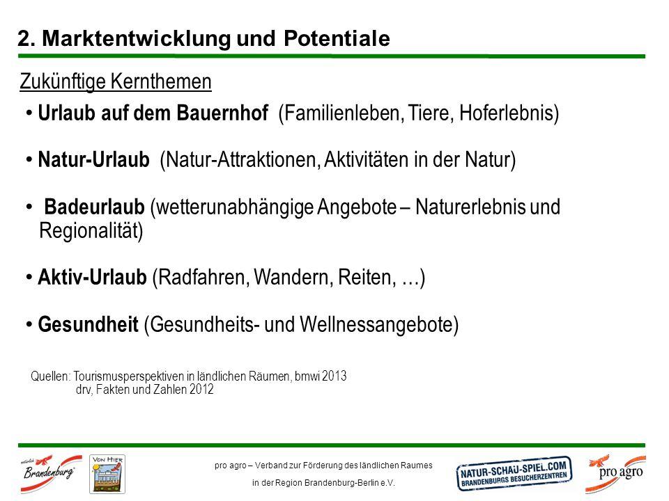 pro agro – Verband zur Förderung des ländlichen Raumes in der Region Brandenburg-Berlin e.V. 2. Marktentwicklung und Potentiale Urlaub auf dem Bauernh