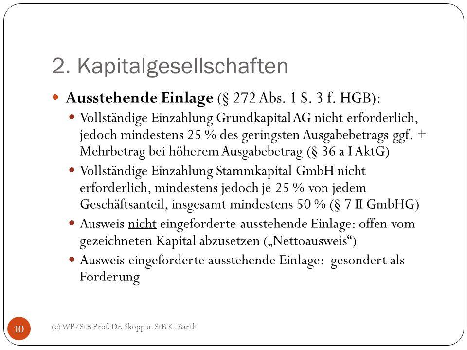 2. Kapitalgesellschaften (c) WP/StB Prof. Dr. Skopp u. StB K. Barth 10 Ausstehende Einlage (§ 272 Abs. 1 S. 3 f. HGB): Vollständige Einzahlung Grundka