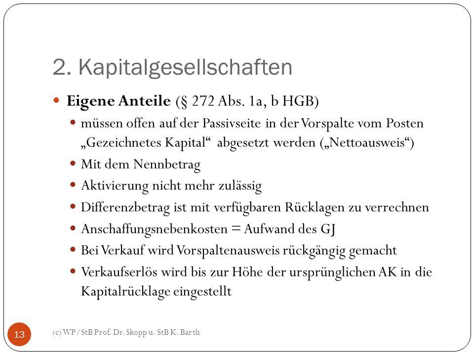 2. Kapitalgesellschaften (c) WP/StB Prof. Dr. Skopp u. StB K. Barth 13 Eigene Anteile (§ 272 Abs. 1a, b HGB) müssen offen auf der Passivseite in der V