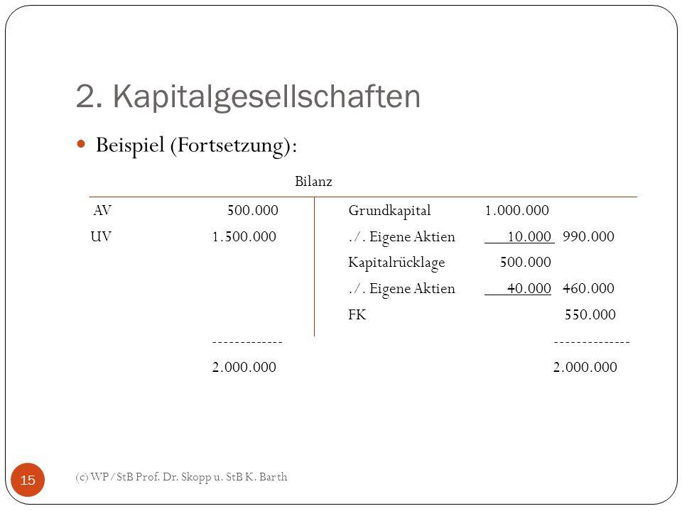 2. Kapitalgesellschaften (c) WP/StB Prof. Dr. Skopp u. StB K. Barth 15 Beispiel (Fortsetzung): Bilanz AV 500.000Grundkapital 1.000.000 UV1.500.000./.