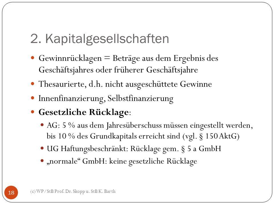 2. Kapitalgesellschaften (c) WP/StB Prof. Dr. Skopp u. StB K. Barth 18 Gewinnrücklagen = Beträge aus dem Ergebnis des Geschäftsjahres oder früherer Ge