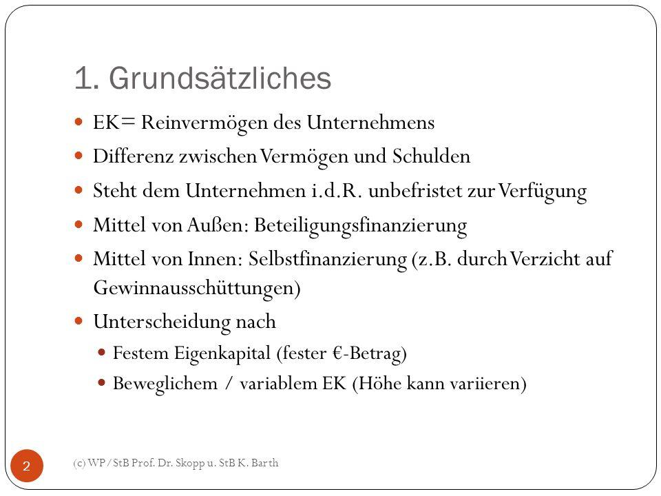1. Grundsätzliches (c) WP/StB Prof. Dr. Skopp u. StB K. Barth 2 EK= Reinvermögen des Unternehmens Differenz zwischen Vermögen und Schulden Steht dem U