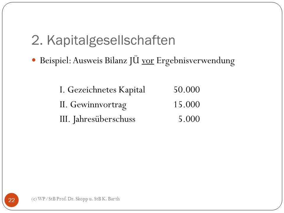 2. Kapitalgesellschaften (c) WP/StB Prof. Dr. Skopp u. StB K. Barth 22 Beispiel: Ausweis Bilanz JÜ vor Ergebnisverwendung I. Gezeichnetes Kapital50.00