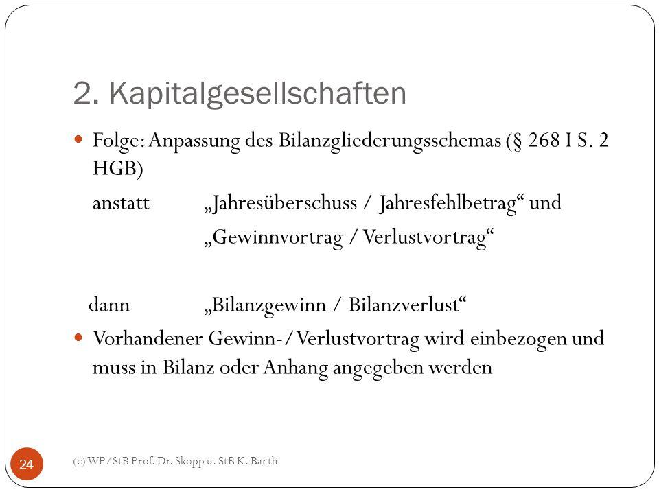 2. Kapitalgesellschaften (c) WP/StB Prof. Dr. Skopp u. StB K. Barth 24 Folge: Anpassung des Bilanzgliederungsschemas (§ 268 I S. 2 HGB) anstatt Jahres