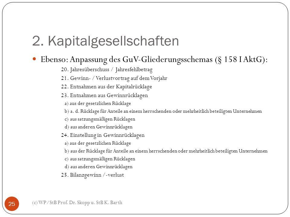 2. Kapitalgesellschaften (c) WP/StB Prof. Dr. Skopp u. StB K. Barth 25 Ebenso: Anpassung des GuV-Gliederungsschemas (§ 158 I AktG): 20. Jahresüberschu
