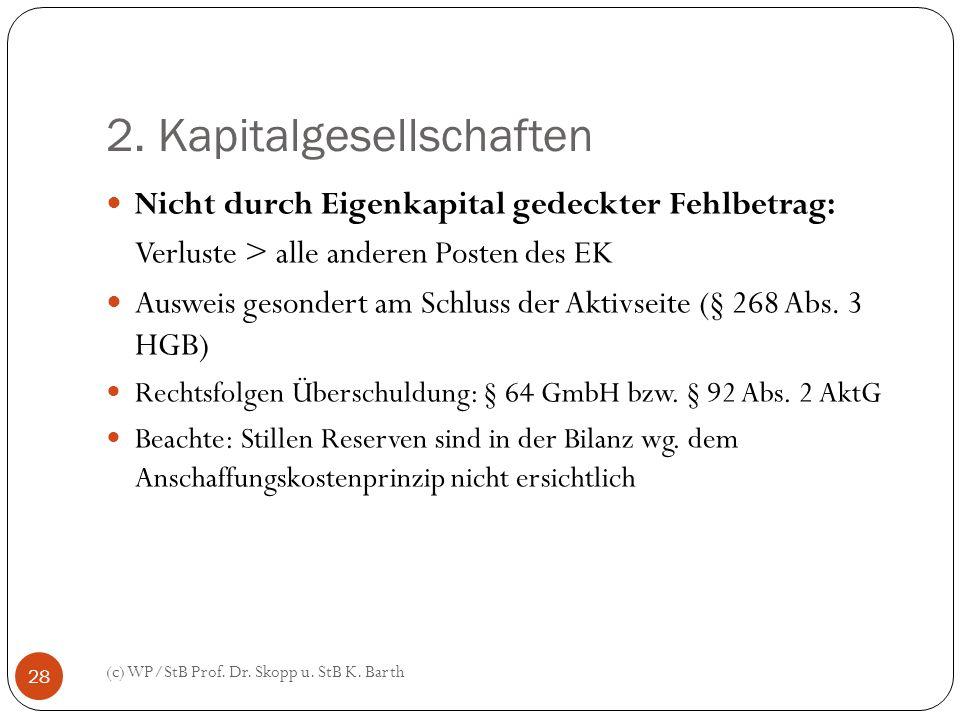 2. Kapitalgesellschaften (c) WP/StB Prof. Dr. Skopp u. StB K. Barth 28 Nicht durch Eigenkapital gedeckter Fehlbetrag: Verluste > alle anderen Posten d