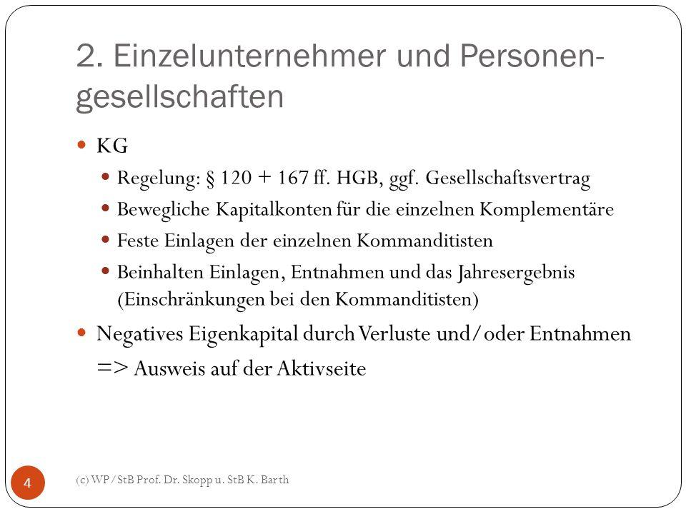 2. Einzelunternehmer und Personen- gesellschaften (c) WP/StB Prof. Dr. Skopp u. StB K. Barth 4 KG Regelung: § 120 + 167 ff. HGB, ggf. Gesellschaftsver