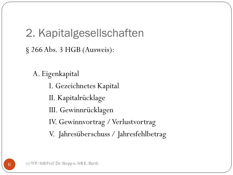 2. Kapitalgesellschaften (c) WP/StB Prof. Dr. Skopp u. StB K. Barth 6 § 266 Abs. 3 HGB (Ausweis): A. Eigenkapital I. Gezeichnetes Kapital II. Kapitalr