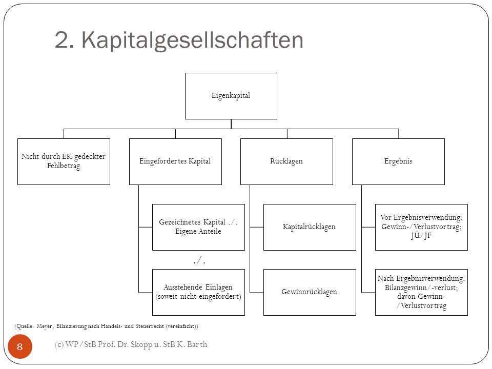 2. Kapitalgesellschaften (c) WP/StB Prof. Dr. Skopp u. StB K. Barth 8 Eigenkapital Nicht durch EK gedeckter Fehlbetrag Eingefordertes Kapital Gezeichn