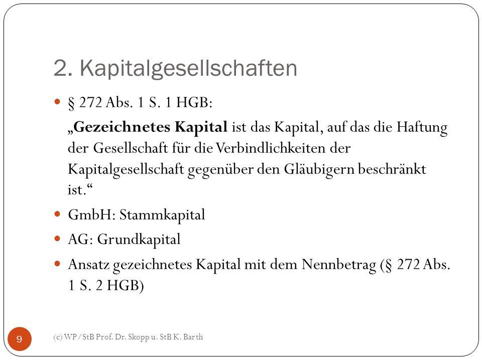 2. Kapitalgesellschaften (c) WP/StB Prof. Dr. Skopp u. StB K. Barth 9 § 272 Abs. 1 S. 1 HGB: Gezeichnetes Kapital ist das Kapital, auf das die Haftung