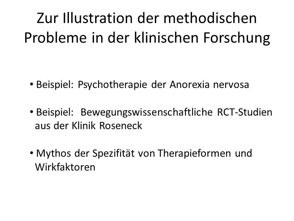Zur Illustration der methodischen Probleme in der klinischen Forschung Beispiel: Psychotherapie der Anorexia nervosa Beispiel: Bewegungswissenschaftli