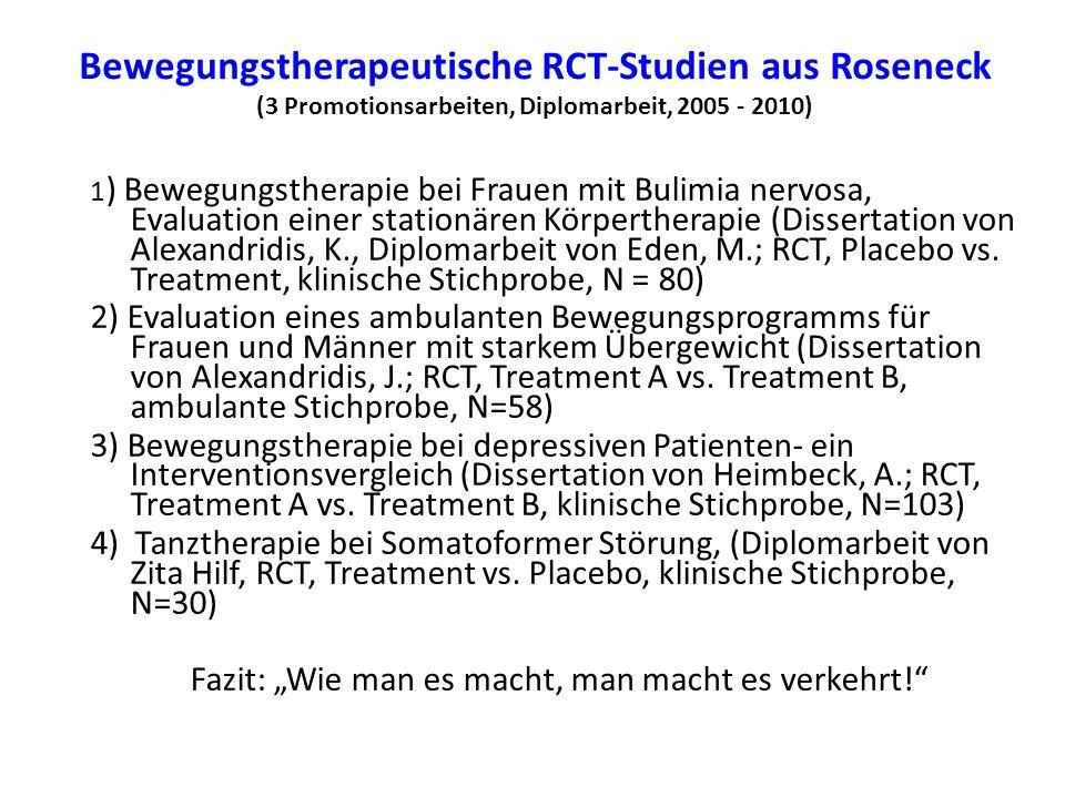 Bewegungstherapeutische RCT-Studien aus Roseneck (3 Promotionsarbeiten, Diplomarbeit, 2005 - 2010) 1 ) Bewegungstherapie bei Frauen mit Bulimia nervos