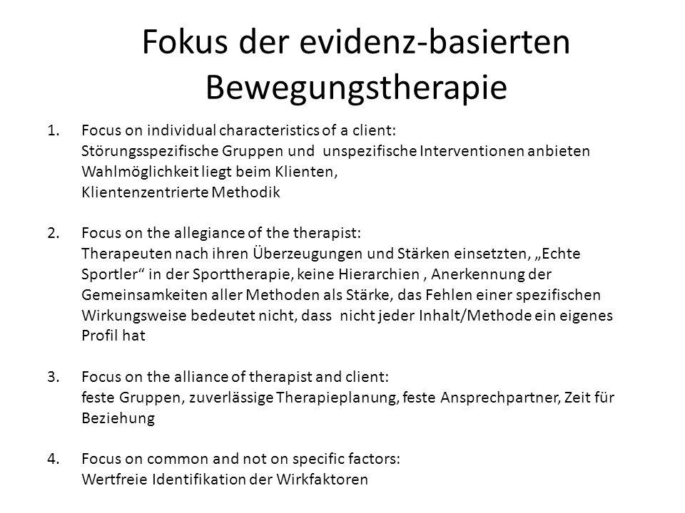 Fokus der evidenz-basierten Bewegungstherapie 1.Focus on individual characteristics of a client: Störungsspezifische Gruppen und unspezifische Interve