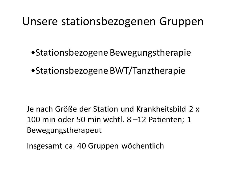 Unsere stationsbezogenen Gruppen Stationsbezogene Bewegungstherapie Stationsbezogene BWT/Tanztherapie Je nach Größe der Station und Krankheitsbild 2 x
