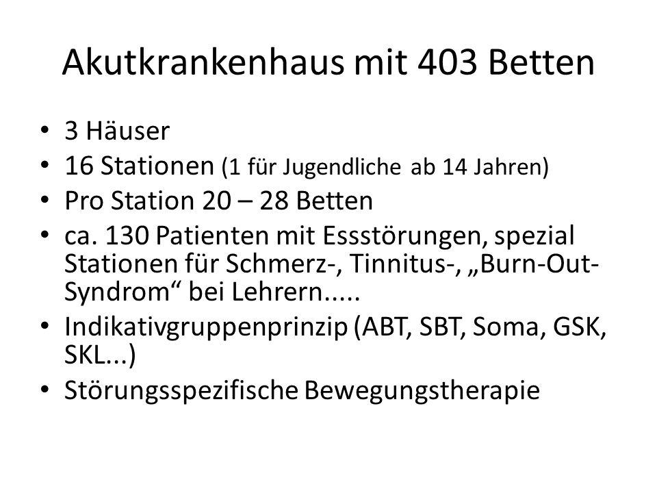 Akutkrankenhaus mit 403 Betten 3 Häuser 16 Stationen (1 für Jugendliche ab 14 Jahren) Pro Station 20 – 28 Betten ca. 130 Patienten mit Essstörungen, s