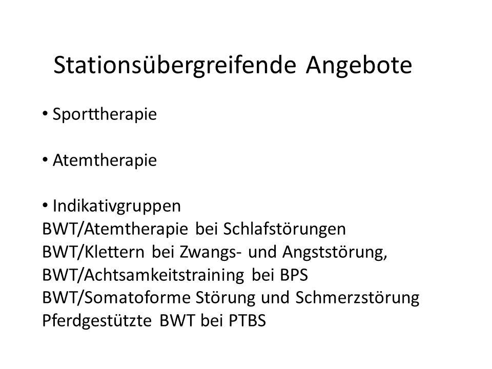 Stationsübergreifende Angebote Sporttherapie Atemtherapie Indikativgruppen BWT/Atemtherapie bei Schlafstörungen BWT/Klettern bei Zwangs- und Angststör