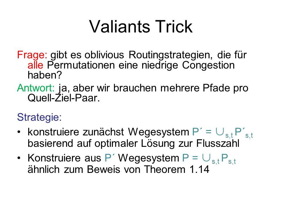 Valiants Trick Konstruktion von P´: Sei G=(V,E,c) das gegebene Netzwerk.