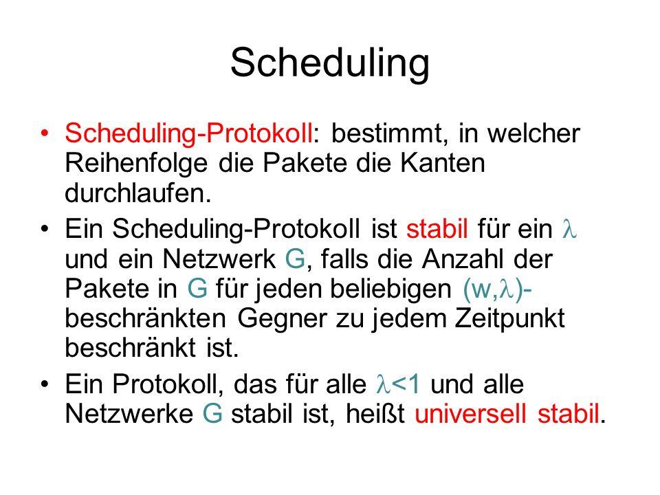 Scheduling Annahme: jede Kante hat einen (prinzipiell unbeschränkten) Puffer für ausgehende Pakete.