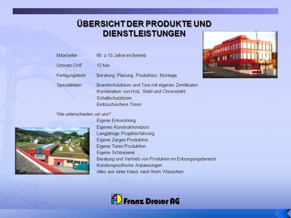 Mitarbeiter 60 Ø 15 Jahre im Betrieb Umsatz CHF 12 Mio Fertigungstiefe Beratung, Planung, Produktion, Montage Spezialitäten Brandschutztüren und Tore