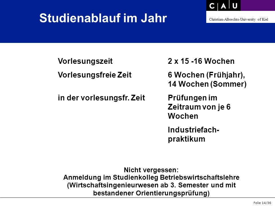 Christian-Albrechts-University of Kiel Folie 14/36 Studienablauf im Jahr Nicht vergessen: Anmeldung im Studienkolleg Betriebswirtschaftslehre (Wirtsch