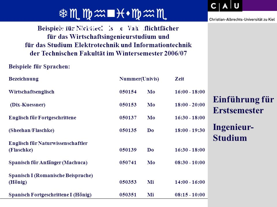 Christian-Albrechts-University of Kiel Folie 24/36 Beispiele für Nichttechnische Wahlpflichtfächer für das Wirtschaftsingenieurstudium und für das Stu