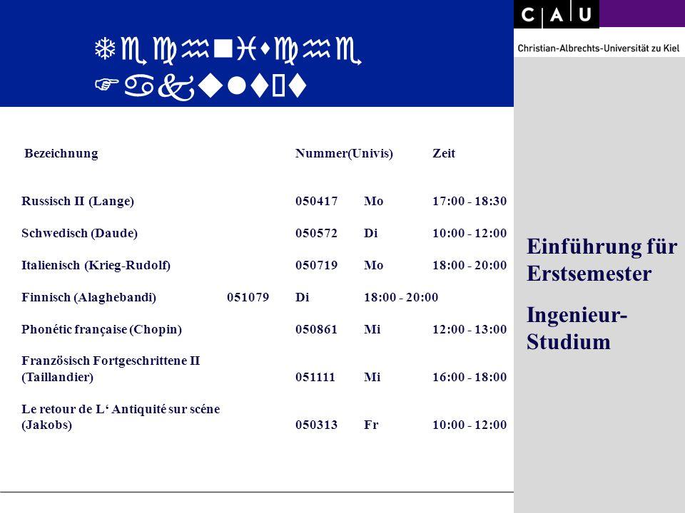 Christian-Albrechts-University of Kiel Folie 25/36 BezeichnungNummer(Univis)Zeit Russisch II (Lange)050417Mo 17:00 - 18:30 Schwedisch (Daude)050572Di