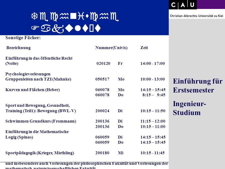 Christian-Albrechts-University of Kiel Folie 26/36 Sonstige Fächer: BezeichnungNummer(Univis)Zeit Einführung in das öffentliche Recht (Nolte) 020120Fr
