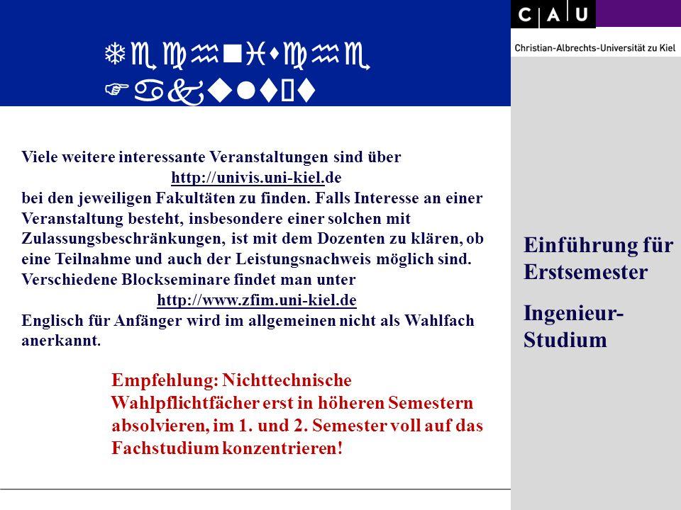 Christian-Albrechts-University of Kiel Folie 27/36 Viele weitere interessante Veranstaltungen sind über http://univis.uni-kiel.de bei den jeweiligen F
