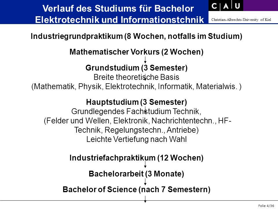 Christian-Albrechts-University of Kiel Folie 4/36 Verlauf des Studiums für Bachelor Elektrotechnik und Informationstchnik Industriegrundpraktikum (8 W