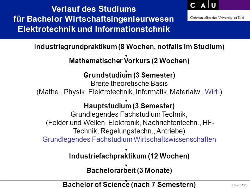 Christian-Albrechts-University of Kiel Folie 5/36 Verlauf des Studiums für Bachelor Wirtschaftsingenieurwesen Elektrotechnik und Informationstchnik In