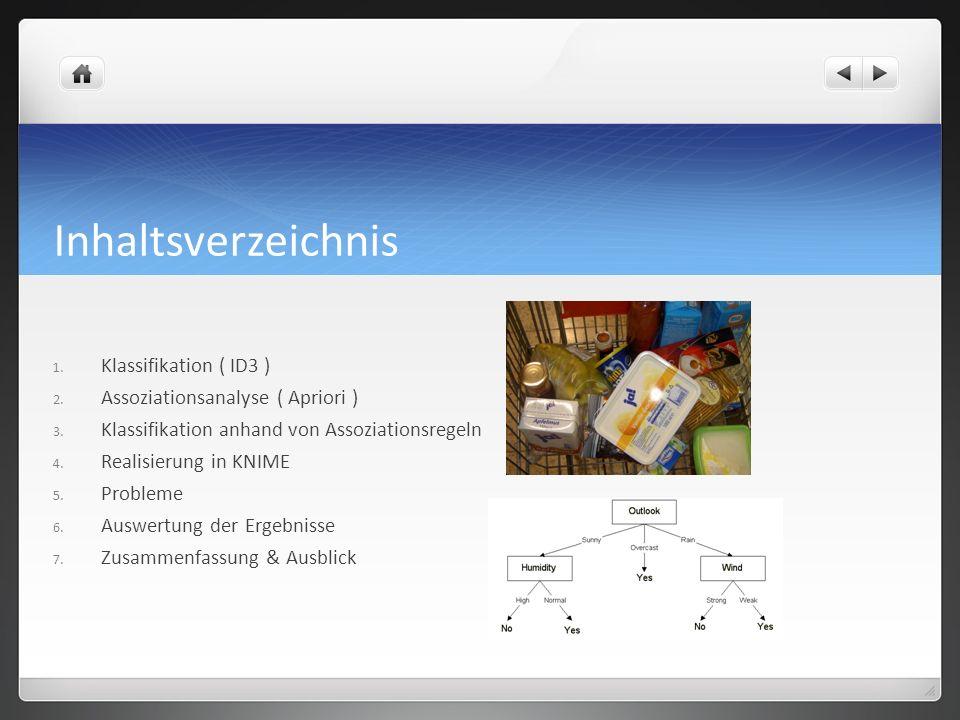 Inhaltsverzeichnis 1.Klassifikation ( ID3 ) 2. Assoziationsanalyse ( Apriori ) 3.