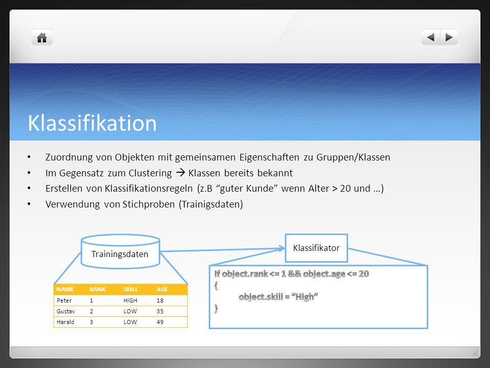 ID3-Algorithmus Algorithmus der zur Entscheidungsfindung dient Generierung von Entscheidungsbäumen Iterative Basisstruktur Für jedes nicht benutztes Attribut werden Entropien bezüglich der Traningsmenge berechnet Aus Attribut mit höchsten Informationsgehalt wird Baumknoten generiert Das Verfahren terminiert wenn alle Traningsmengen klassifiziert worden sind