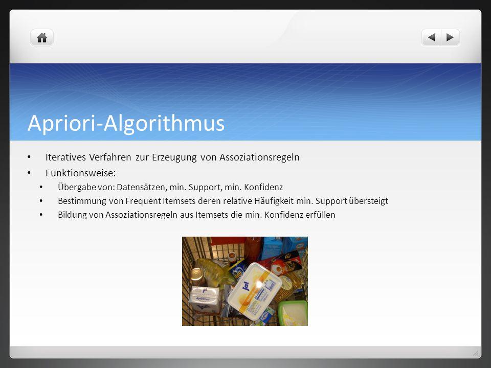 Apriori-Algorithmus Iteratives Verfahren zur Erzeugung von Assoziationsregeln Funktionsweise: Übergabe von: Datensätzen, min.