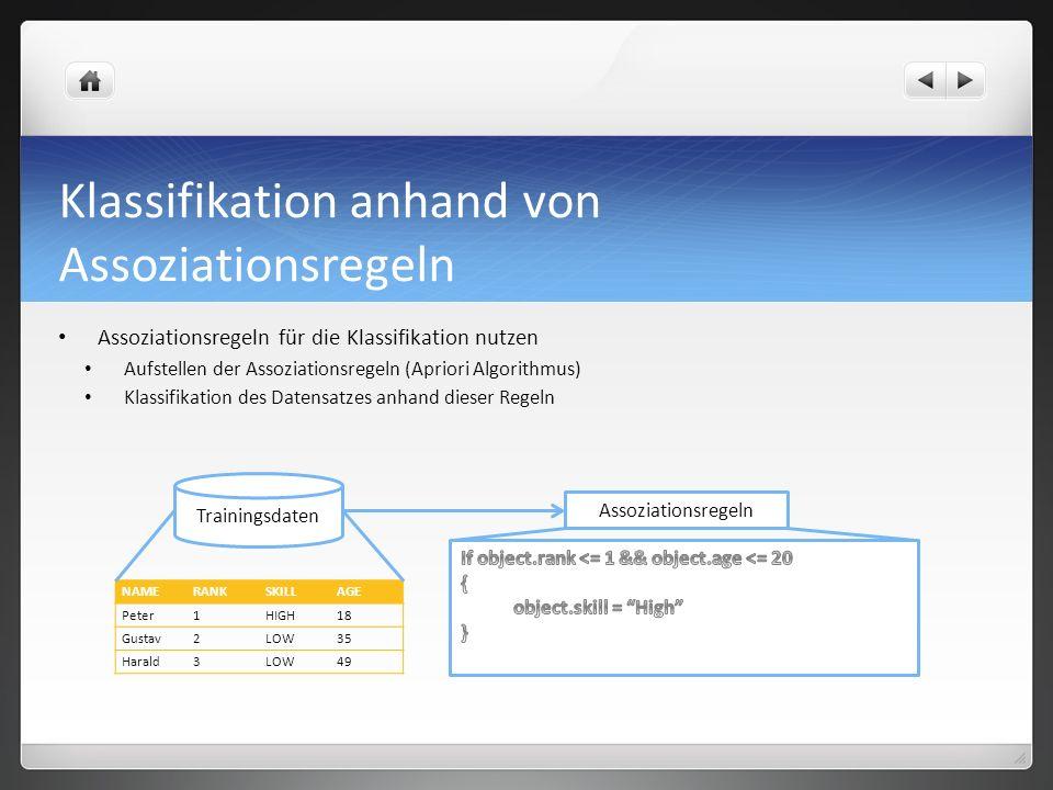 Klassifikation anhand von Assoziationsregeln Assoziationsregeln für die Klassifikation nutzen Aufstellen der Assoziationsregeln (Apriori Algorithmus) Klassifikation des Datensatzes anhand dieser Regeln NAMERANKSKILLAGE Peter1HIGH18 Gustav2LOW35 Harald3LOW49 Trainingsdaten Assoziationsregeln