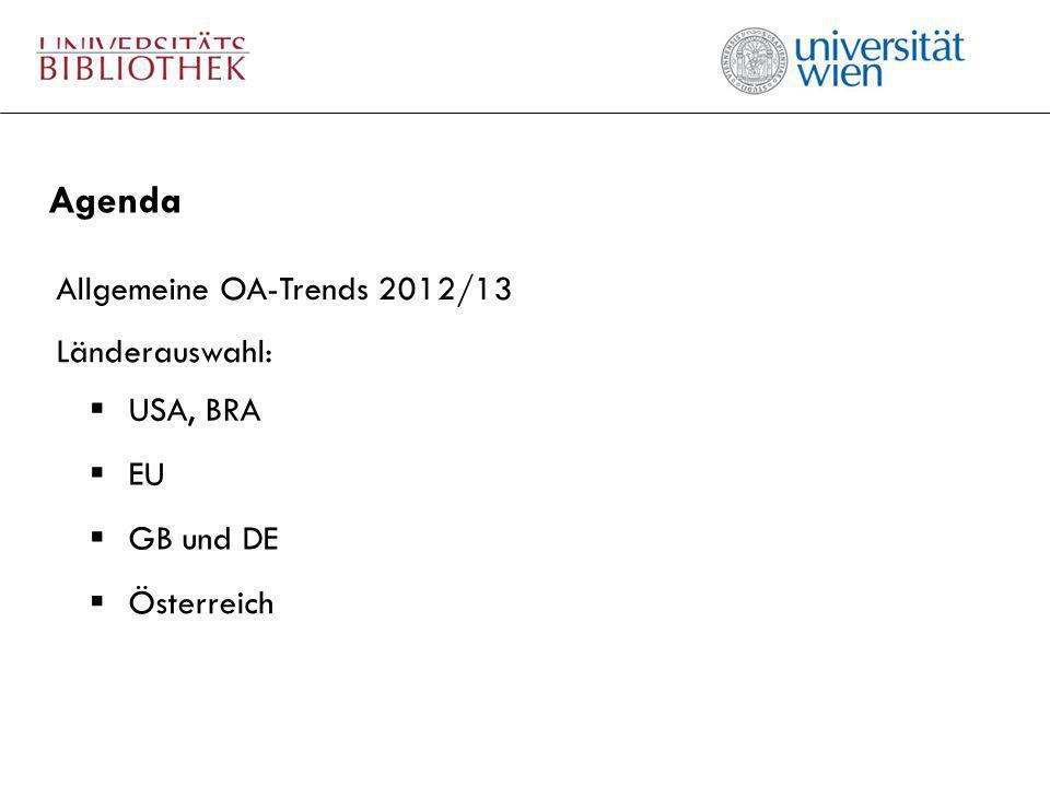 Agenda Allgemeine OA-Trends 2012/13 EU USA, BRA GB und DE Österreich Länderauswahl: