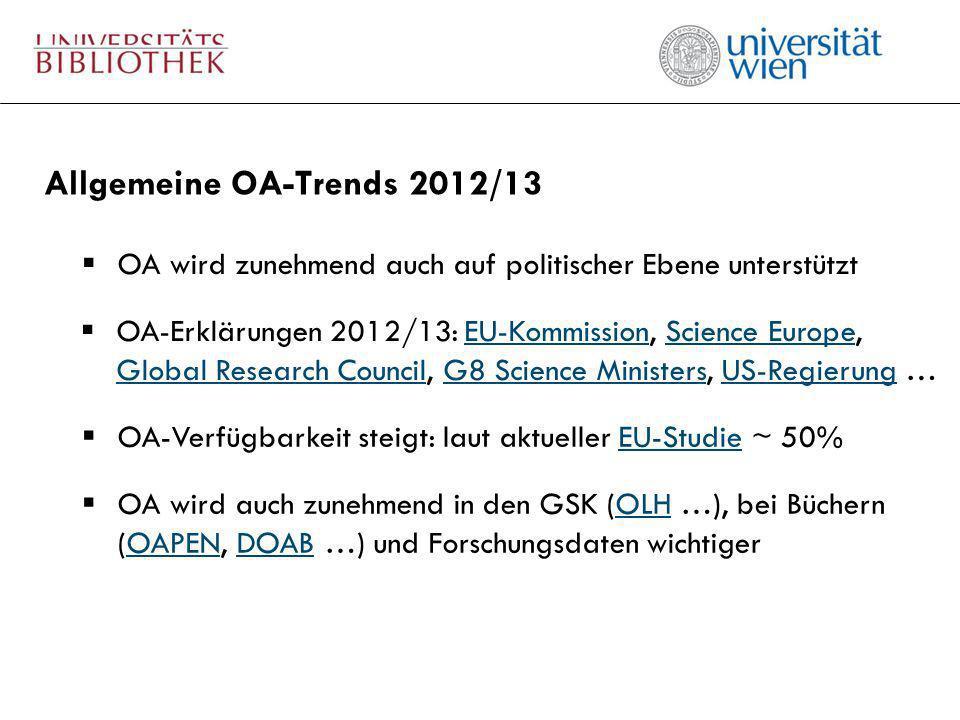 Allgemeine OA-Trends 2012/13 OA wird zunehmend auch auf politischer Ebene unterstützt OA-Verfügbarkeit steigt: laut aktueller EU-Studie ~ 50%EU-Studie