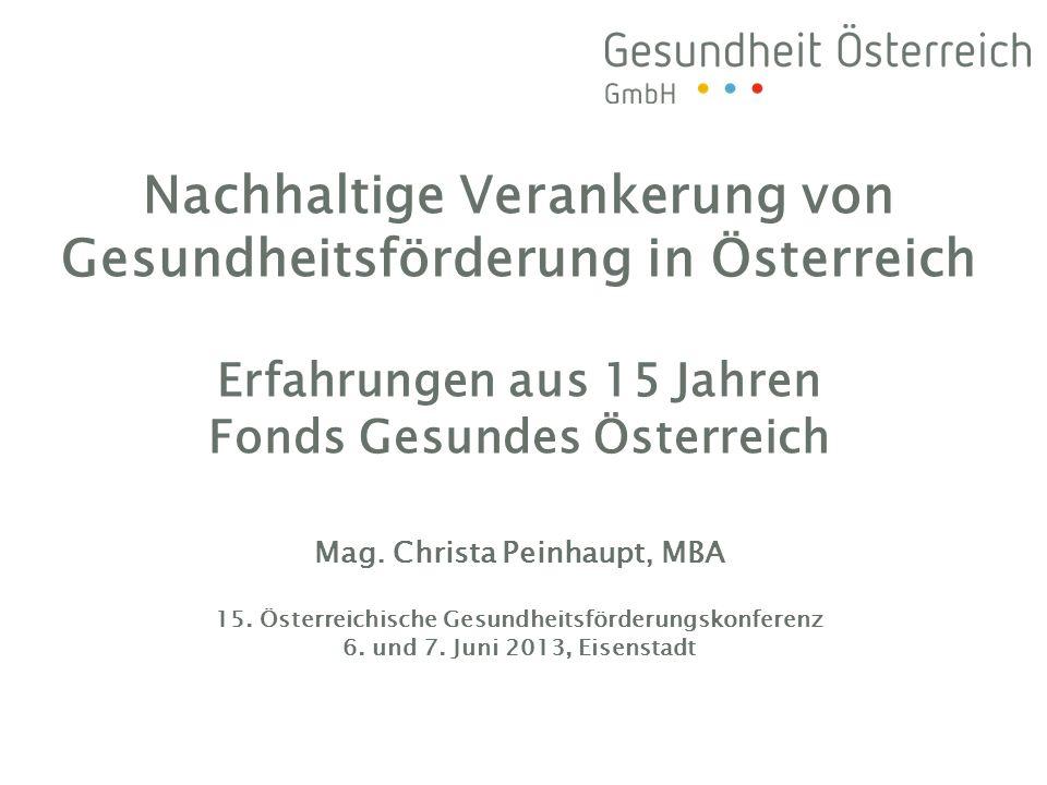 Nachhaltige Verankerung von Gesundheitsförderung in Österreich Erfahrungen aus 15 Jahren Fonds Gesundes Österreich Mag. Christa Peinhaupt, MBA 15. Öst