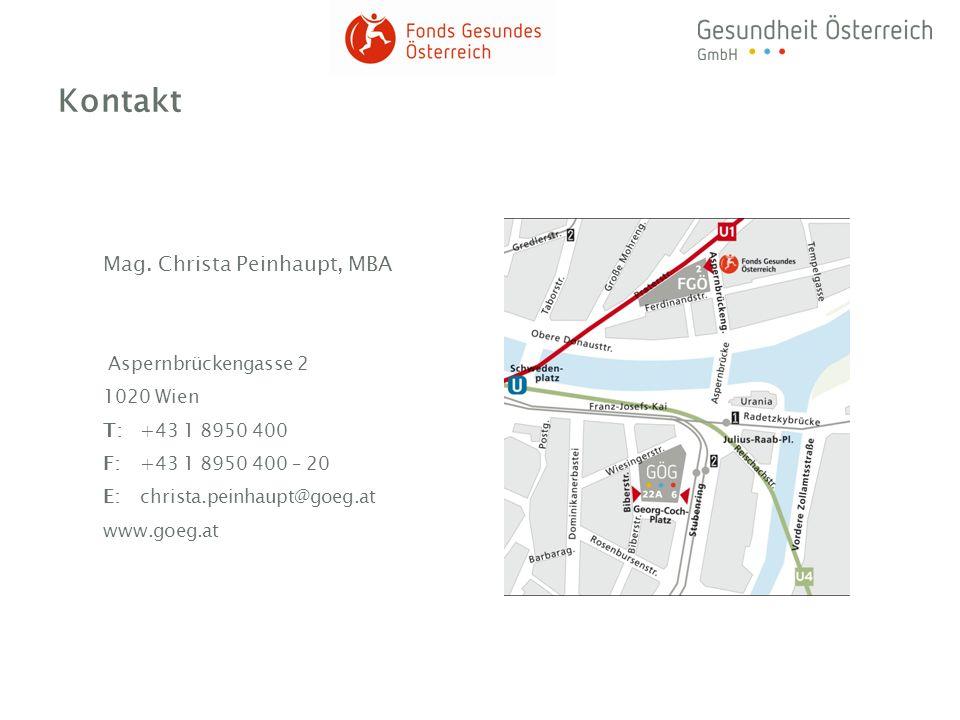 Kontakt Mag. Christa Peinhaupt, MBA Aspernbrückengasse 2 1020 Wien T:+43 1 8950 400 F:+43 1 8950 400 – 20 E:christa.peinhaupt@goeg.at www.goeg.at