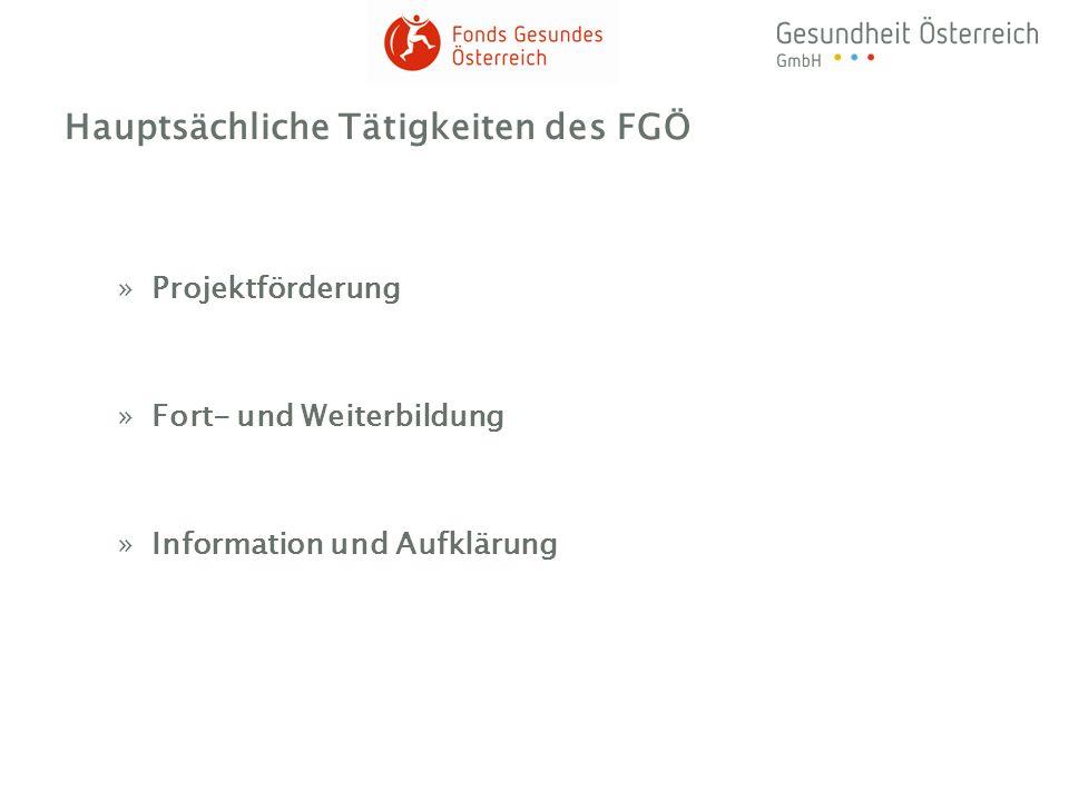 Hauptsächliche Tätigkeiten des FGÖ »Projektförderung »Fort- und Weiterbildung »Information und Aufklärung