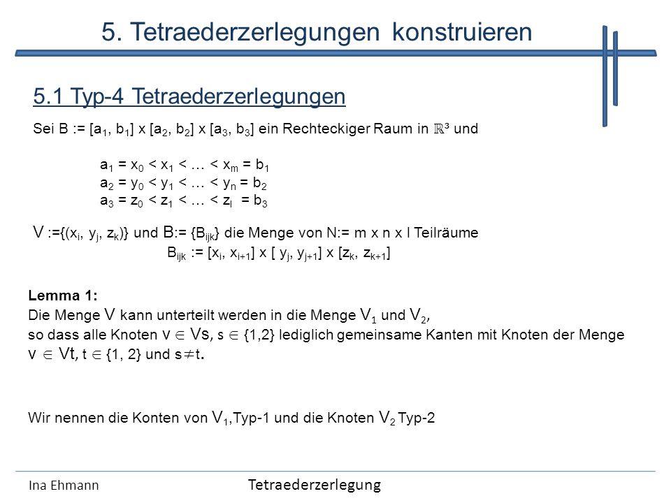 Ina Ehmann 5.1 Typ-4 Tetraederzerlegungen Sei B := [a 1, b 1 ] x [a 2, b 2 ] x [a 3, b 3 ] ein Rechteckiger Raum in ³ und a 1 = x 0 < x 1 < … < x m =