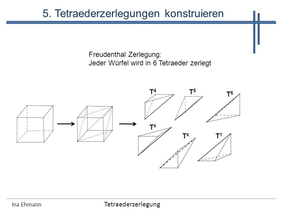 Ina Ehmann Tetraederzerlegung 5. Tetraederzerlegungen konstruieren T4T4 T³ T²T1T1 T5T5 T6T6 Freudenthal Zerlegung: Jeder Würfel wird in 6 Tetraeder ze