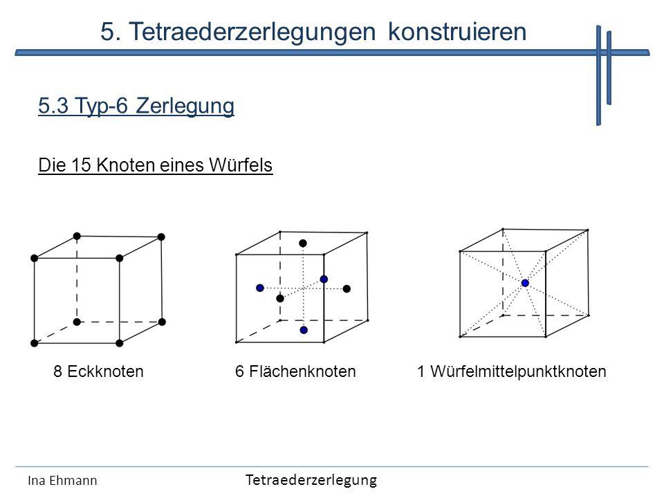 Ina Ehmann 5.3 Typ-6 Zerlegung Die 15 Knoten eines Würfels 8 Eckknoten6 Flächenknoten1 Würfelmittelpunktknoten Tetraederzerlegung 5. Tetraederzerlegun