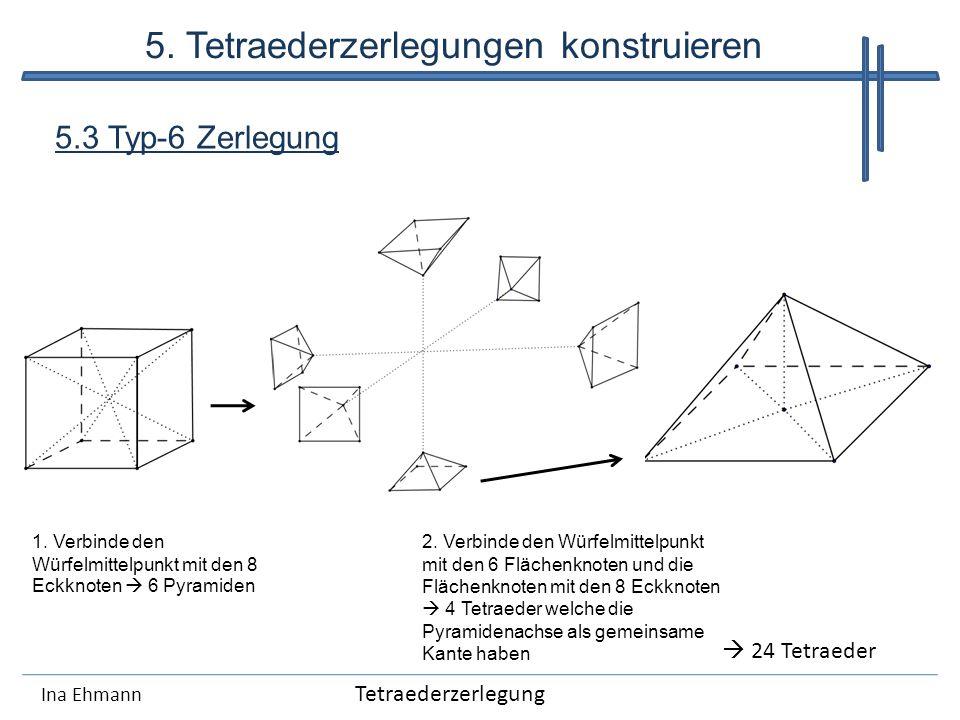 Ina Ehmann 5.3 Typ-6 Zerlegung 1. Verbinde den Würfelmittelpunkt mit den 8 Eckknoten 6 Pyramiden 2. Verbinde den Würfelmittelpunkt mit den 6 Flächenkn