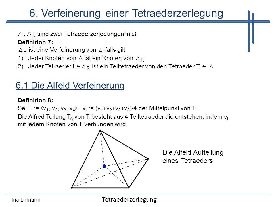 Ina Ehmann 6. Verfeinerung einer Tetraederzerlegung 6.1 Die Alfeld Verfeinerung, R sind zwei Tetraederzerlegungen in Ω Definition 7: R ist eine Verfei
