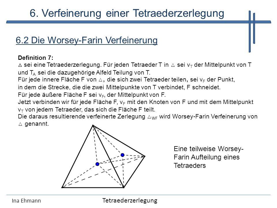 Ina Ehmann 6.2 Die Worsey-Farin Verfeinerung Tetraederzerlegung 6. Verfeinerung einer Tetraederzerlegung Definition 7: sei eine Tetraederzerlegung. Fü