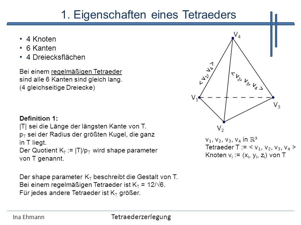 1. Eigenschaften eines Tetraeders Ina Ehmann 4 Knoten 6 Kanten 4 Dreiecksflächen v, v, v, v in ³ Tetraeder T := Knoten v i := (x i, y i, z i ) von T B