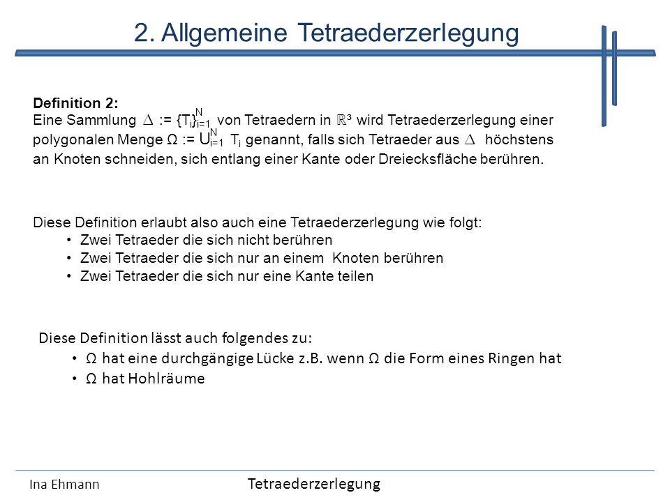 2. Allgemeine Tetraederzerlegung Ina Ehmann Definition 2: Eine Sammlung := {T i } von Tetraedern in ³ wird Tetraederzerlegung einer polygonalen Menge