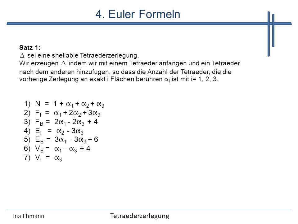Ina Ehmann Satz 1: sei eine shellable Tetraederzerlegung. Wir erzeugen indem wir mit einem Tetraeder anfangen und ein Tetraeder nach dem anderen hinzu