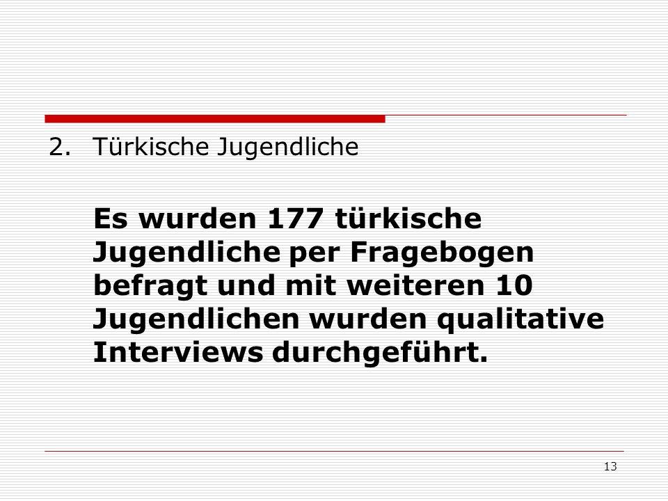 13 2.Türkische Jugendliche Es wurden 177 türkische Jugendliche per Fragebogen befragt und mit weiteren 10 Jugendlichen wurden qualitative Interviews d